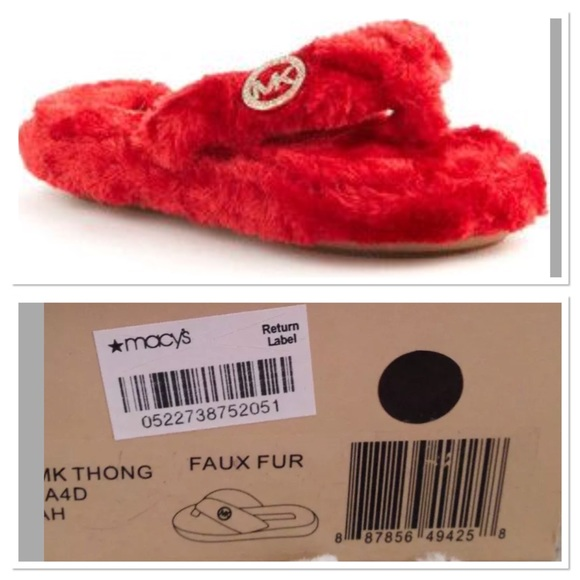 1ec330027a34 Michael Kors Jet Set RED Fur Thong Slippers Sz 8. M 5aefb32d05f430a87edb251d